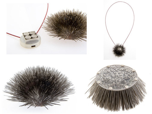 <p>Permanent Collection of Gallery Legnica - Poland<br /> sterling silver, steel pins, magnets, steel cord, plastic</p>